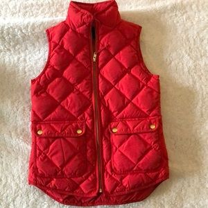 J Crew Red Quilted Vest
